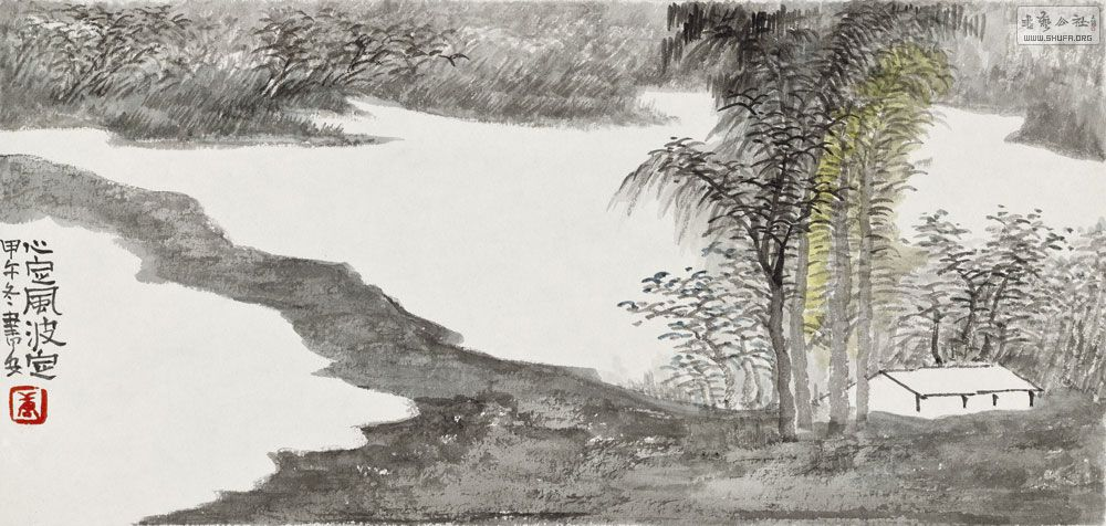 中国山水画春天景象的