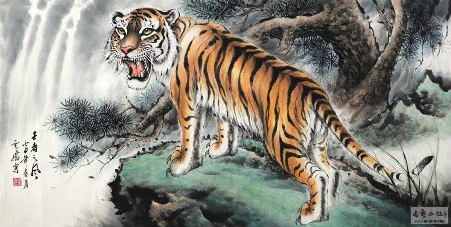 壁纸 动物 国画 虎 老虎 桌面 900_453