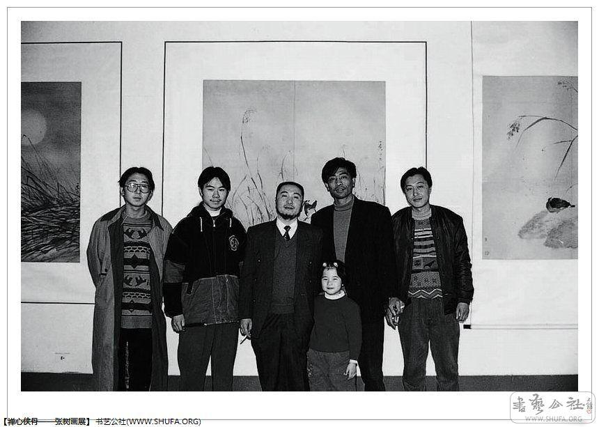 与衣雪峰,何庆林,刘珍清同学在田源老师画展上(前排女孩为田源老师图片