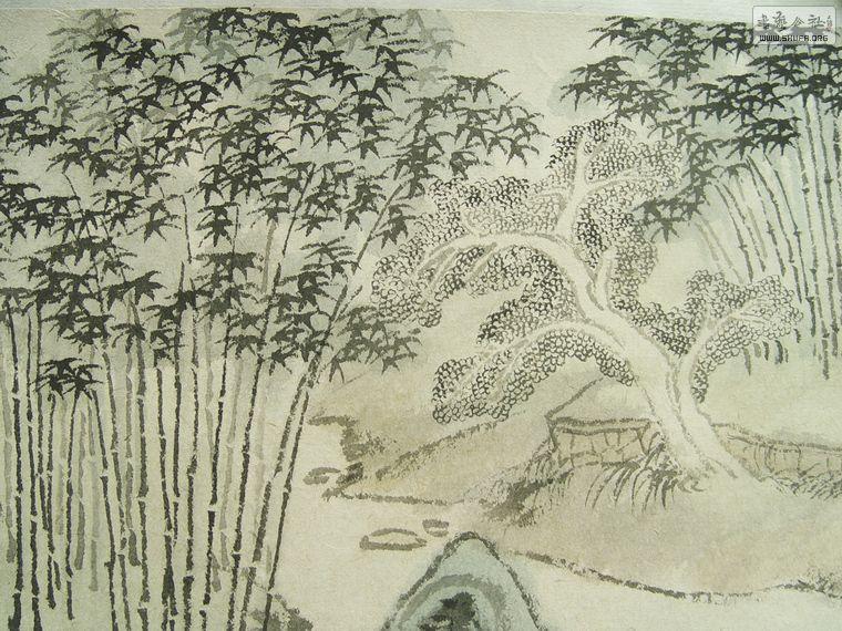 【戴启和】山水手卷 竹林清居图
